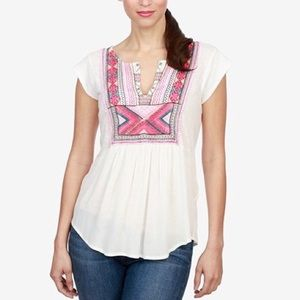 Lucky Embroidered Bib White Pink Top L O742